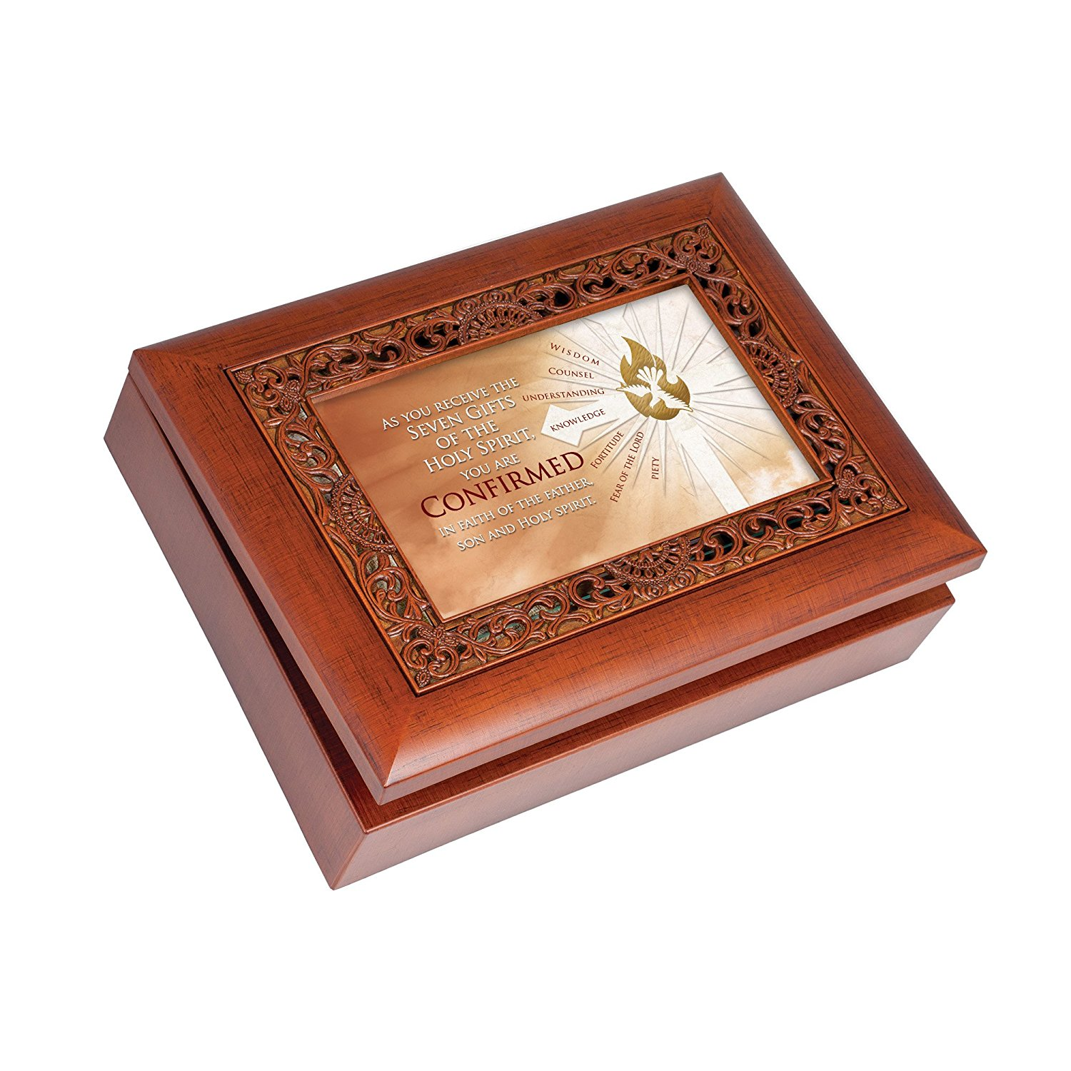 Seven Gifts Holy Spirit Confirmed Wood Finish Ornate Jewelry Music Box Plays We Have a Friend