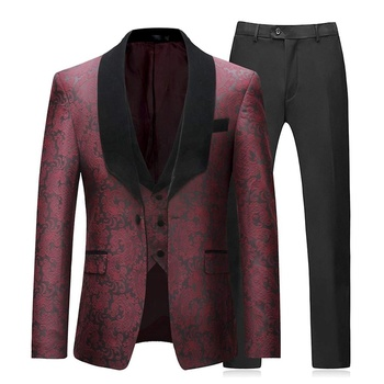 Mens Suits 3 Piece Slim Fit Wedding Red Business Dinner Suit for Men Jacket Button Shawl Lapel Blazer Waistcoat Trousers