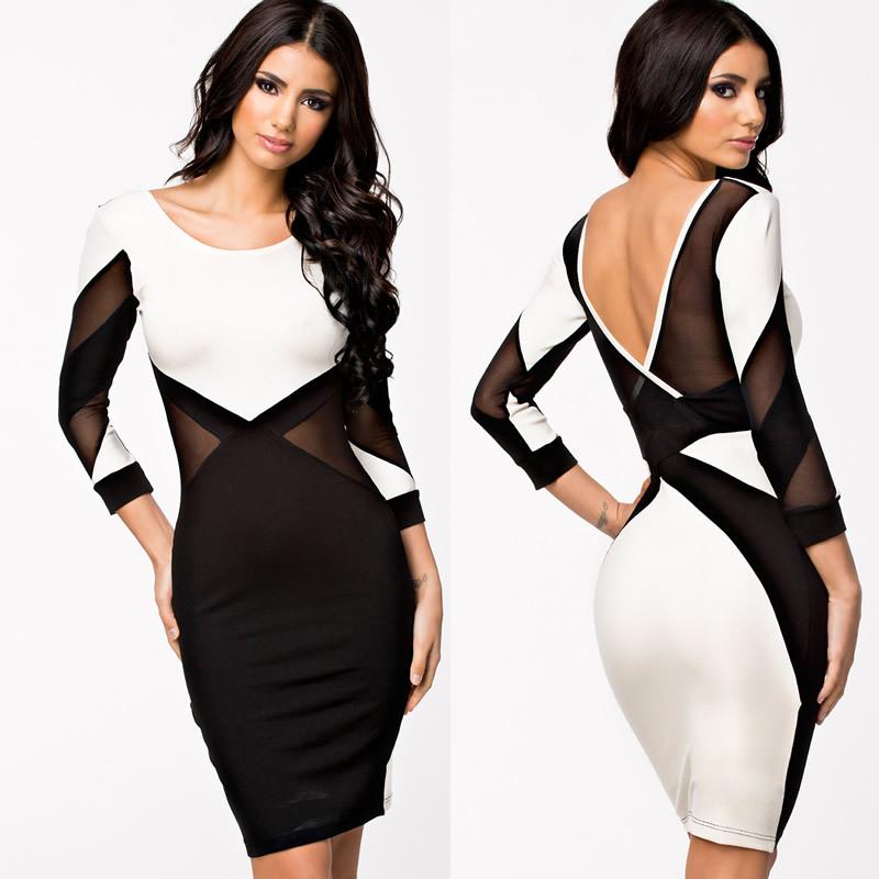 22885434198 Get Quotations · Casual Dress 2014 New Vestido De Festa Celeb Bodycon Midi Pencil  Dress Long Sleeve Autumn Dress