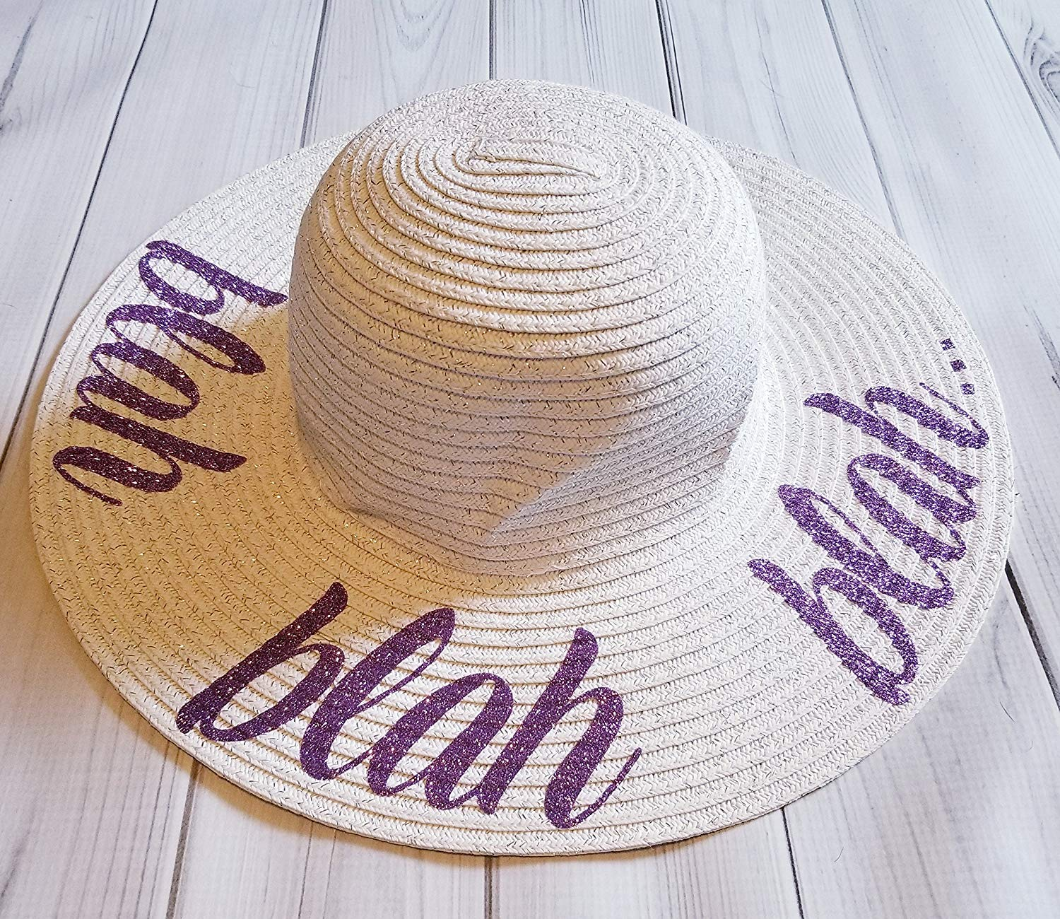 a3629c68b60 Get Quotations · Blah blah blah Straw White Glitter Sparkle Floppy Beach  Sun Hat for kids