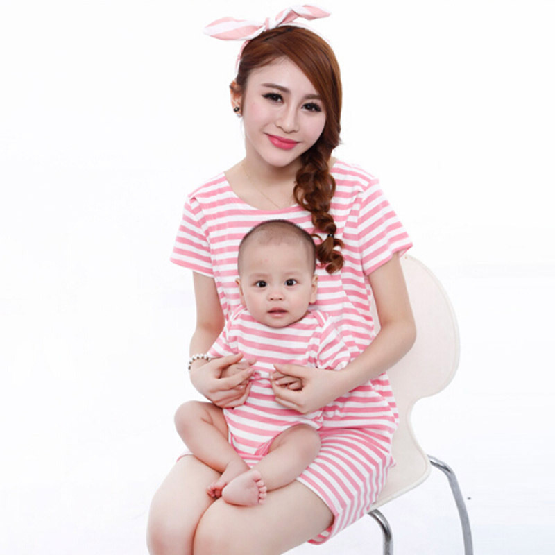 535dfa1b50 Buy Family Matching Clothes For Mother Daughter Son Cotton Striped Baby  Rompers Pregnant Women Dress Lactation Parent-Child Outfit in Cheap Price  on ...