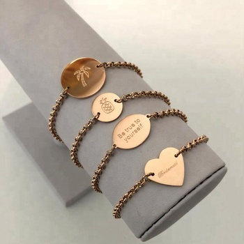 999b1ce367891 Stainless Steel Personalized Rose Gold Engraved Coin Disc Heart Custom  Charm Bracelet Chain, View bracelet heart charm, Jietao Product Details  from ...