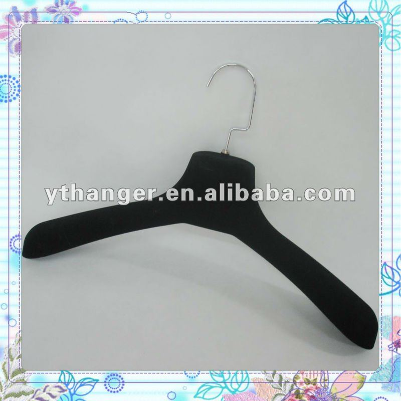 DA74 black large coats size velvet hanger can burden heavy duty