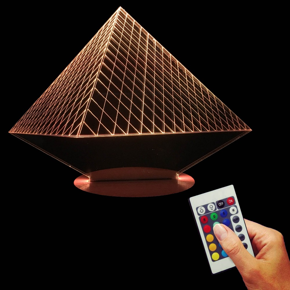 Egypt Pyramid Emblem 3D LED Lamp 16 Colors Changing Nature Wooden Base LED Acylic Decorative Night Light For Kid Indoor Lighting