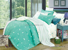 twin size green bowknot print 4pcs kid's cotton printing comforter sets