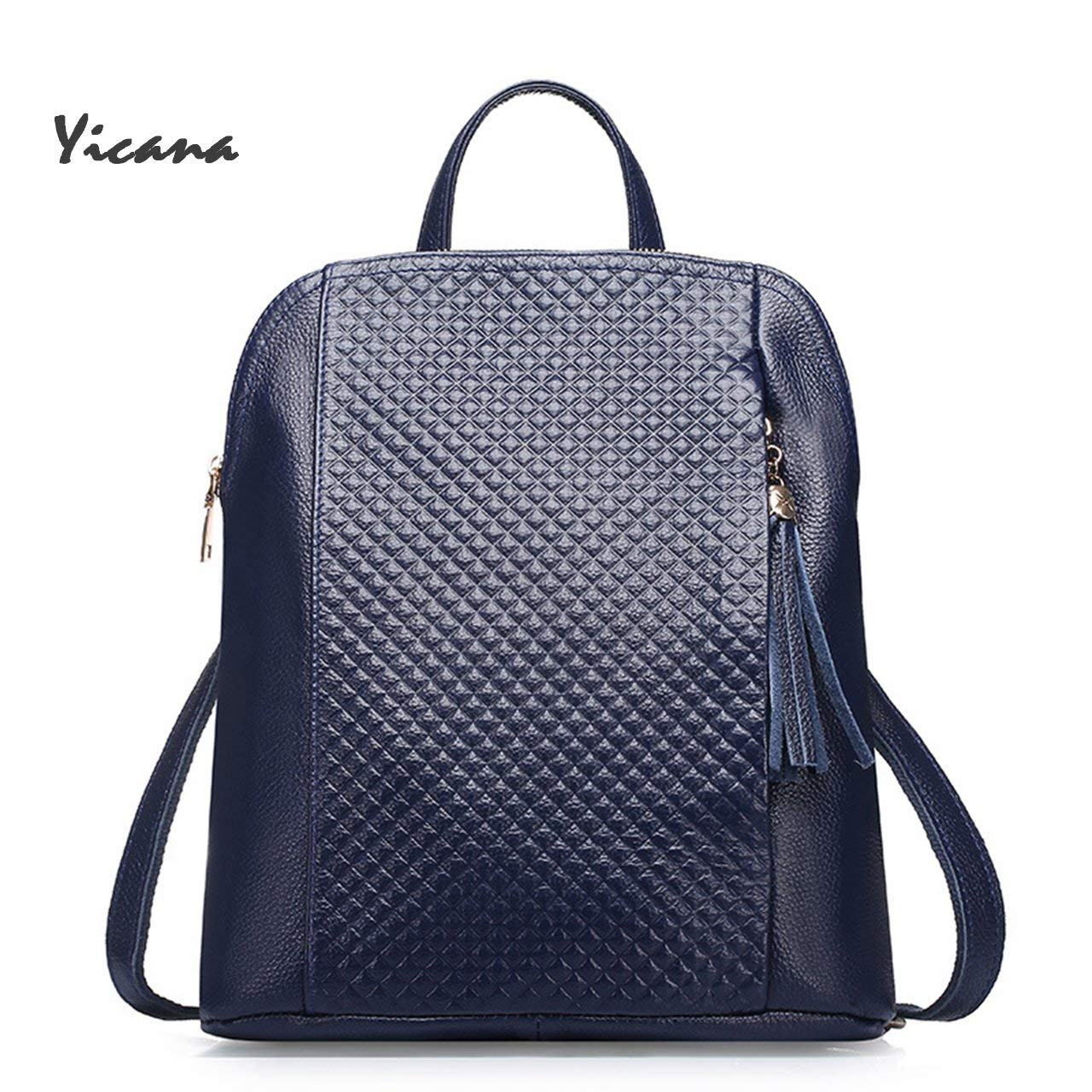 Yicana 2018 Spring/Summer New Style Genuine Leather Women Capacity Backpack Travelling Bag (Blue)