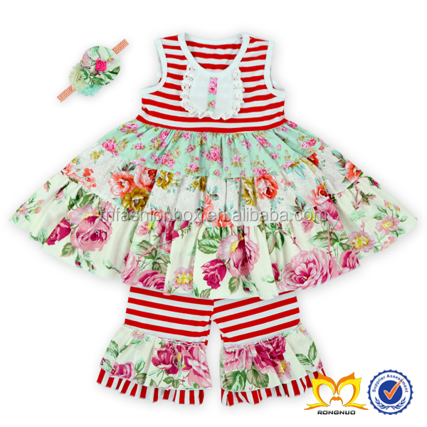 Cute Baby Girls Summer Ruffle Short Set Stripe Floral Girl Prom Wholesale Children's Boutique Clothing Boutique Outfit