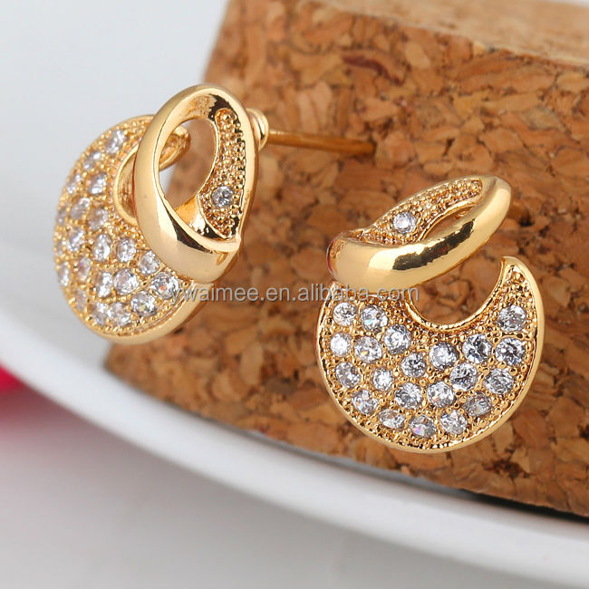 Fashion Plate Gold With White Zircon Stone Stud Earrings Am Erz0043 Product On