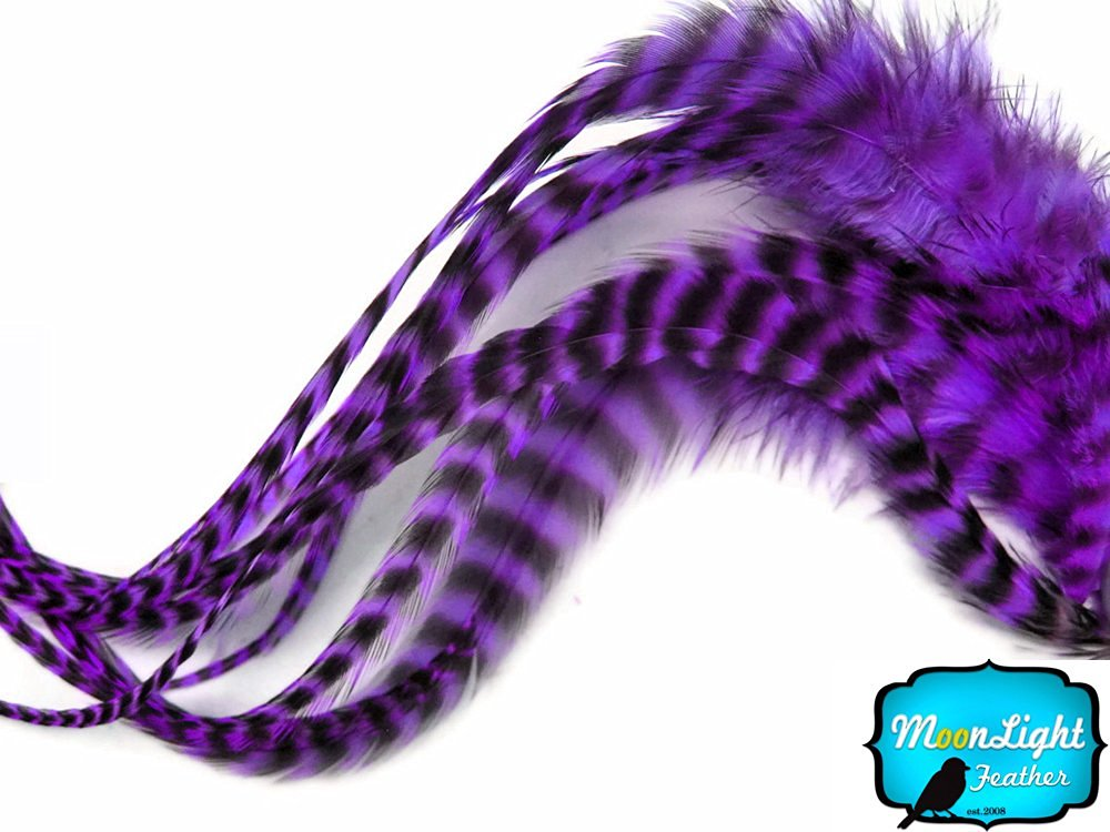 10 Pieces PURPLE Thin Long Grizzly Rooster Hair Extension Feathers