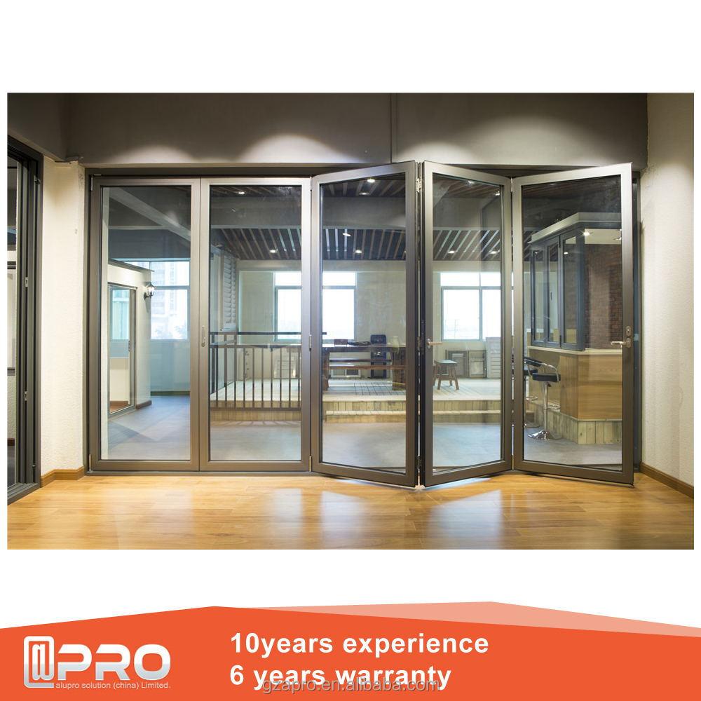 Double Glass Aluminium Glazing Stack Door Sliding Folding Partition