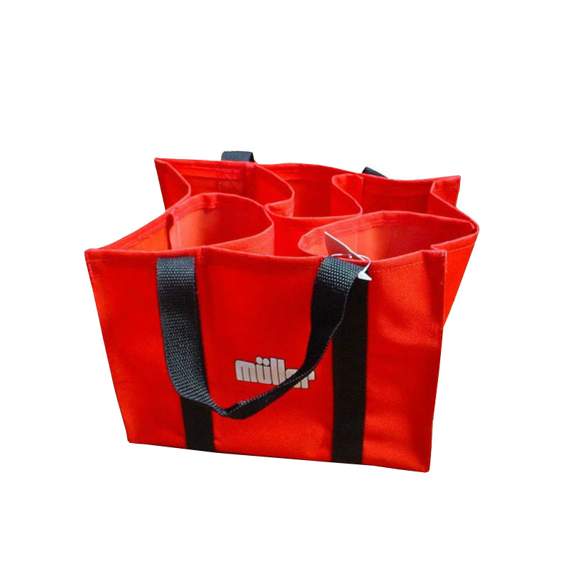 custom supermarket reusafabric 6 bottles Wine beer tote Bag Outside pocket without closureble non woven