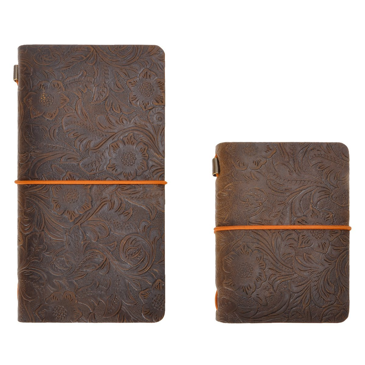 """Refillable Travelers Notebook Vintage Flower Embossed Leather Journal Set, 4.7"""" x 8.6"""" &3.9"""" x 5.2"""", for Men Women Writing Gift, by ZLYC, Dark Coffee"""