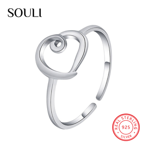 Fashion Jewelry Rings Love Heart Shape 925 Sterling Silver Ring for Valentines Gift