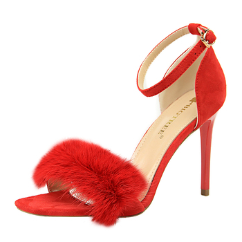 e851d98bc84376 Designer fashion party sexy red high heels suede sample fur sandals