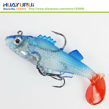 Free Shipping 2 pcs Fishing toys Lure 7.6cm Artificial blue Soft bait Carp Crank bait with Treble Tackle Hooks Fishing