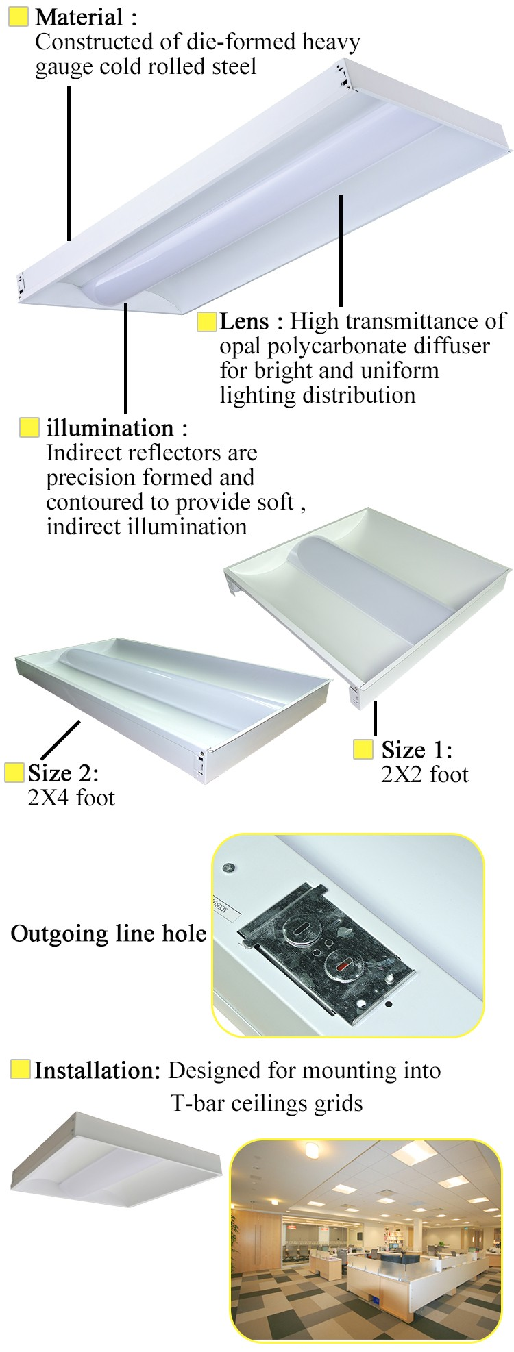 40w 60w 2x4 Fluorescent Recessed Troffer Led Troffer