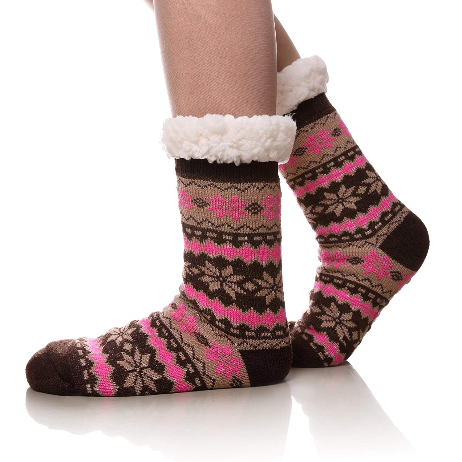 502d024215066 Get Quotations · Women's Warm Fleece-Lined Cozy Thick Winter Knee Highs  Slipper Socks-Christmas Stockings