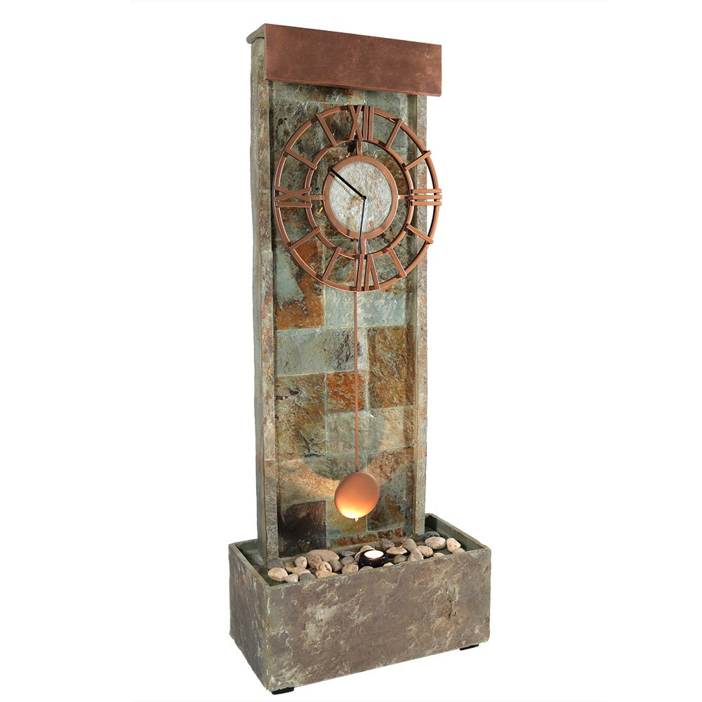 Sunnydaze Slate Indoor/Outdoor Water Fountain with Clock and Halogen Light, 49 Inch Tall