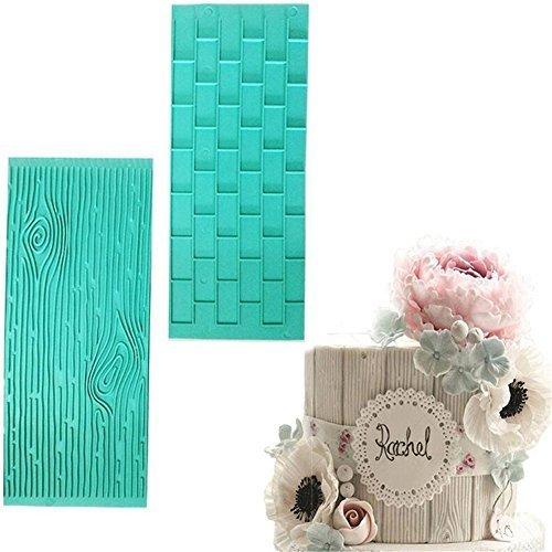 2pcs/set Texture Silicone Mold,Tree Bark + Brick Wall Pattern Silicone Baking Mat Fondant Cake Decorating Tools Bakeware Pad Embossed Mould Kitchen Supplies