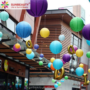 Colourful Hanging Tissue Paper Ornamental Lantern Lamps For Shopping Mall Super market Shop Festival Holiday Decorations