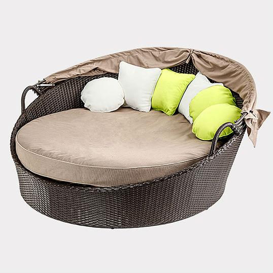 Wicker Outdoor Tagesliege Sonnen Lounge Liege Lounge Mit Baldachin