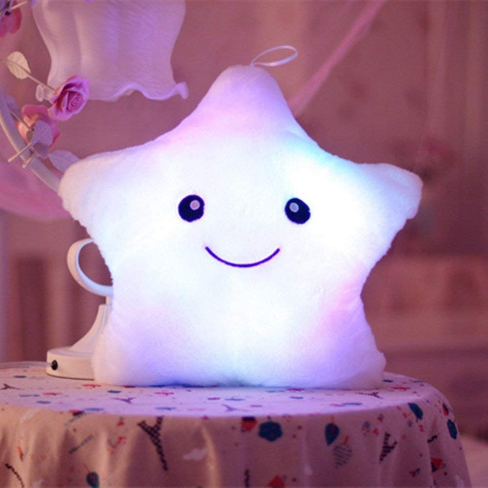 Tickos Plush Pillow Night Light LED Star Pillow Creative Glowing Stuffed Toy Toys Gift for Christmas (White)