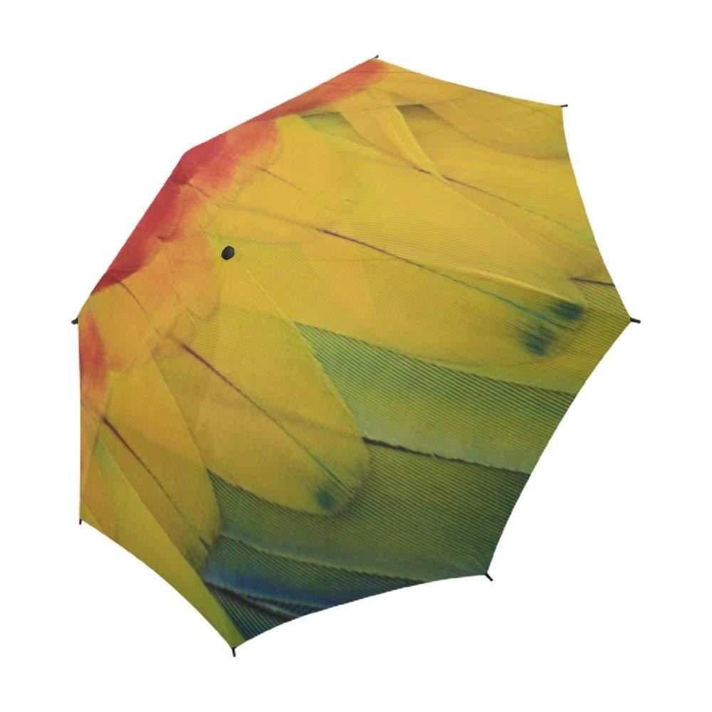 YUMOING Parrot Macaw Red Amazon Ave Bird Tropical Unique Umbrella Semiautomatic Foldable Umbrella Foldable Travel Rainy Sunny Gift