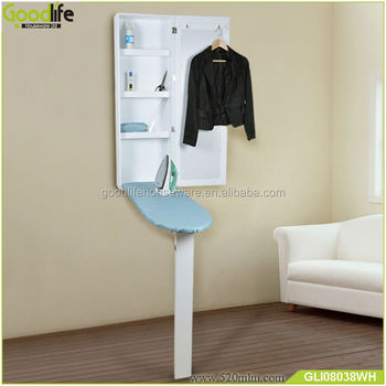 Wall Mount Foldable Ironing Board With Clothes Rack