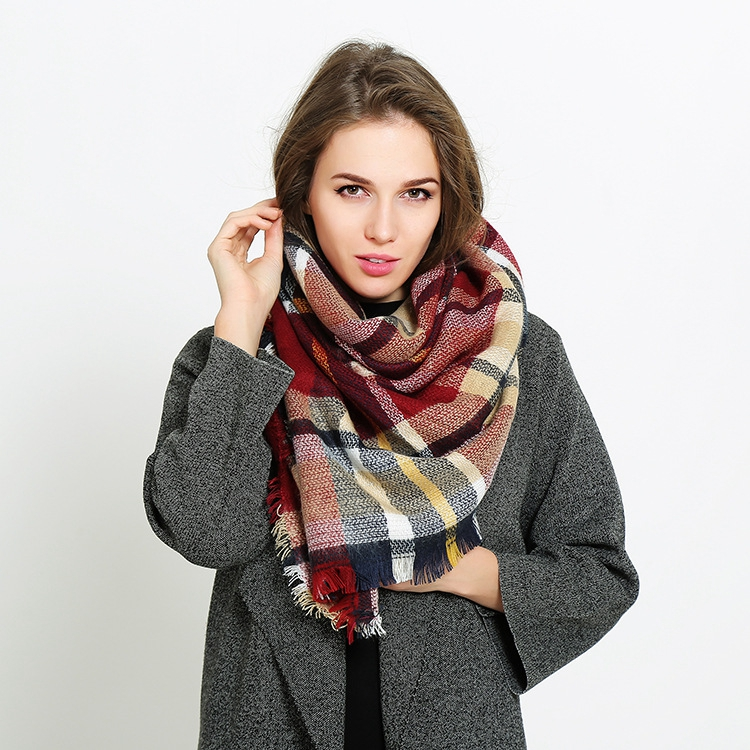 Women Classic Plaid Best Selling <strong>Merino</strong> <strong>Wool</strong> <strong>Scarf</strong> Shawls