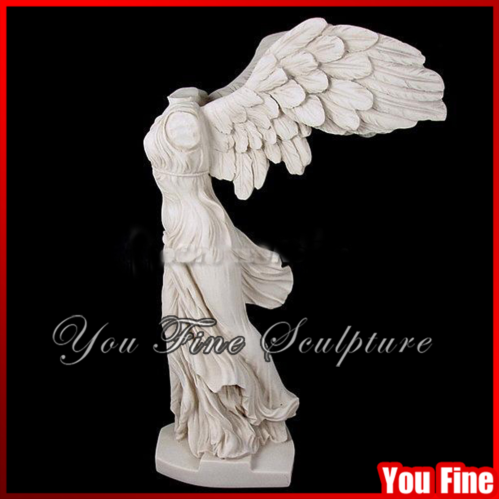 Hand Carved White Marble Winged Victory Statue