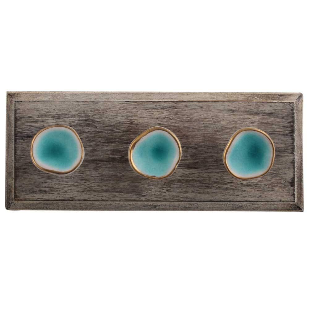 IndianShelf Handmade 1 Piece Sea Green Wooden Wall Hooks Cloth Coats Hangers Key Accessories Holders Online WHK-1196-SCFK-78