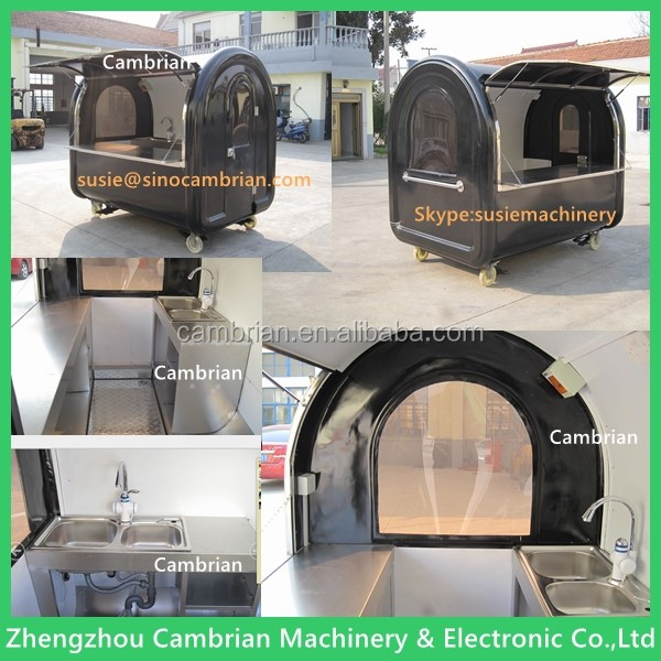 Big wheels sliding windows electric food cart with sunshade