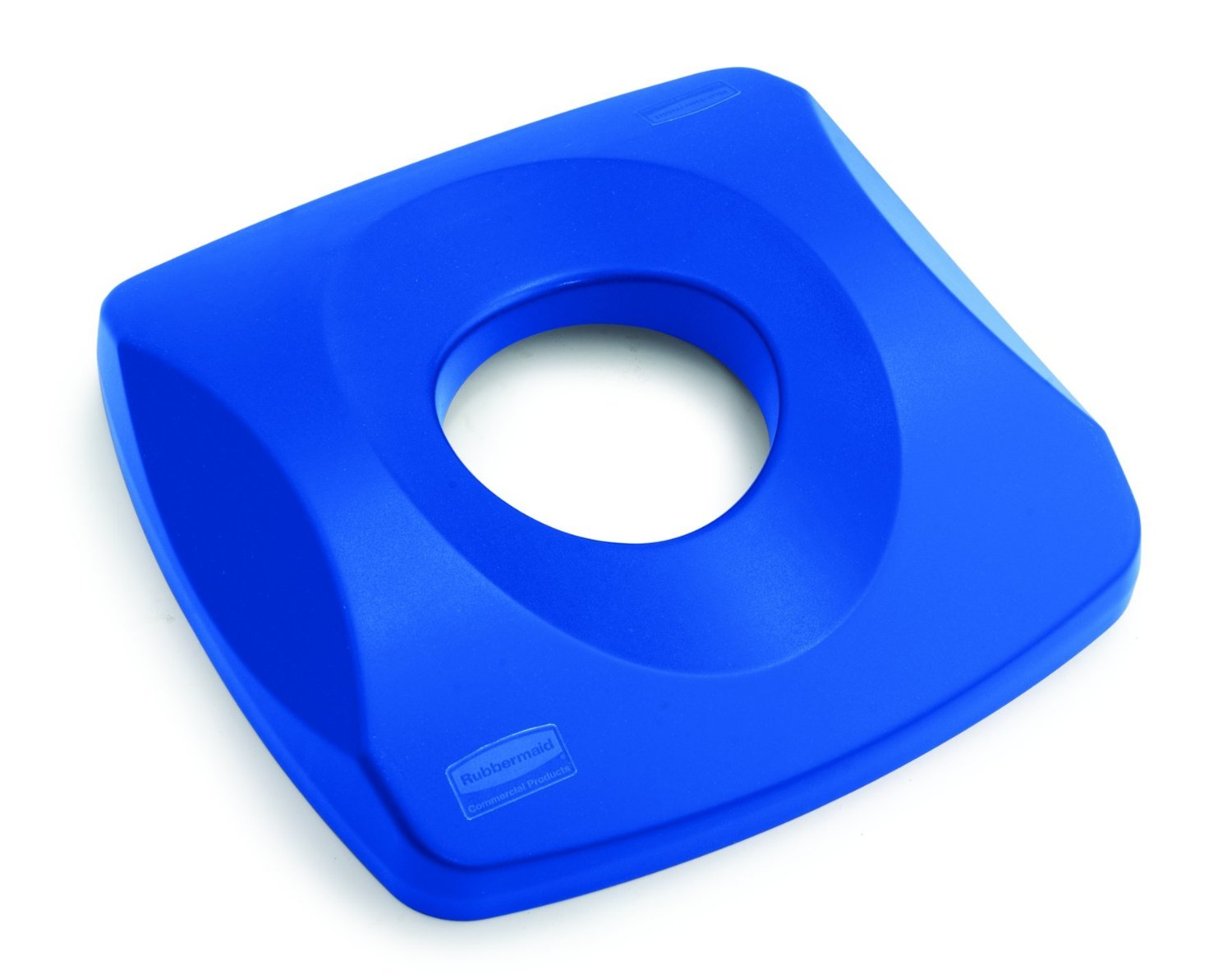 """Rubbermaid Commercial Untouchable Bottle and Can Recycling Top for Containers, 16"""" Square x 3.2"""" Height, Blue"""