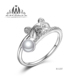Cute 925 Sterling Silver Animal Pearl Ring with CZ