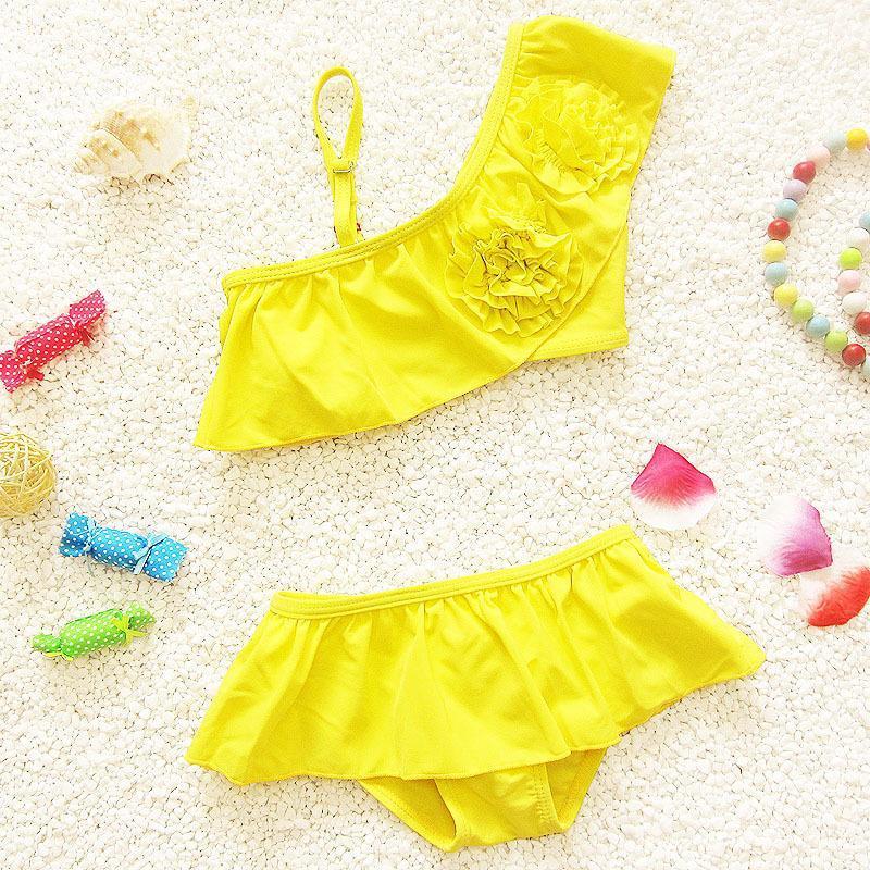 6d29f6f424c3b Buy 2015 Beach Yellow girls bikini Baby girls swimsuit Split Swim children  Clothing Bebe Menina Bathing Suit Split kids swimwear fr4 in Cheap Price on  ...