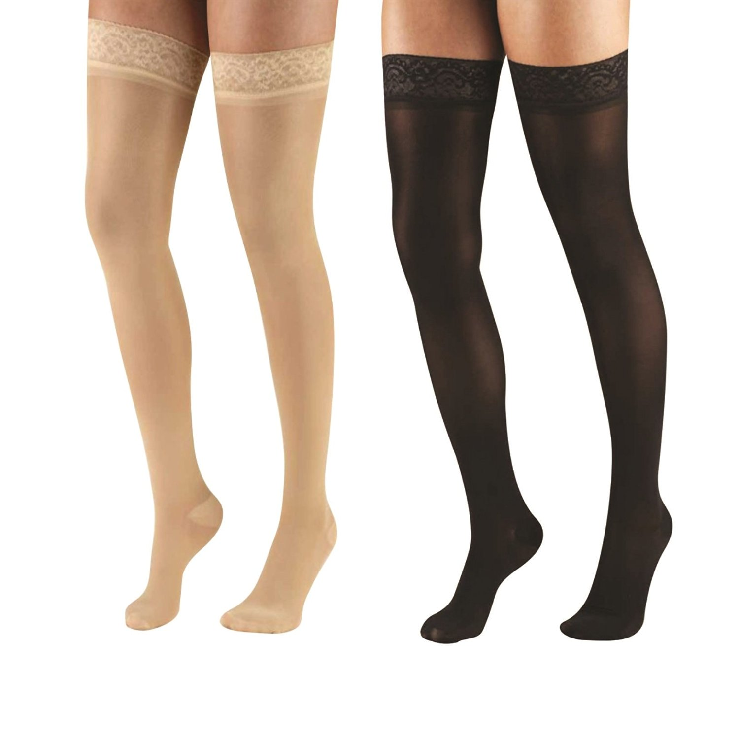 Terramed Graduated Compression Thigh Highs 18-20 Mmhg (Sheer with Lace Top and Strong Silicone Band) Pack of 2 Pairs (Beige and Black) (Medium)