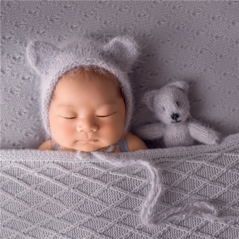 Newborn <strong>Hat</strong> and Toy Set Angora knitted Bear <strong>Hat</strong> <strong>New</strong> born Photography Props Newborn Prop Bonnet Brushed Toy Baby Outfit
