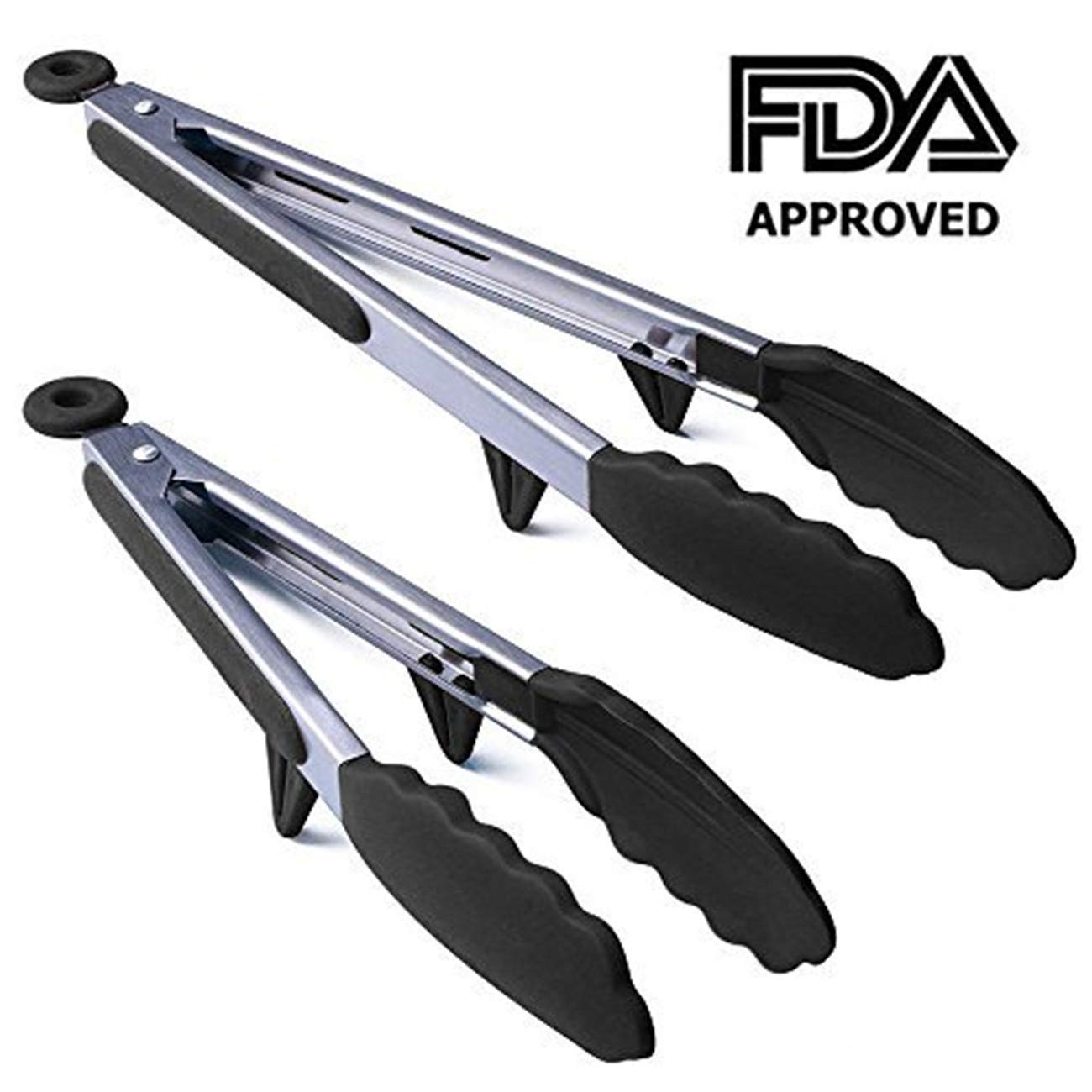 US Fine Kitchenware Silicone Kitchen Tongs 2 Pack (9-Inch & 12-Inch) Stainless Steel Non-Stick Cooking Tongs Soft Silicone Heads and Stands Design for Cooking,Salad,BBQ Grilling and Serving(Black)