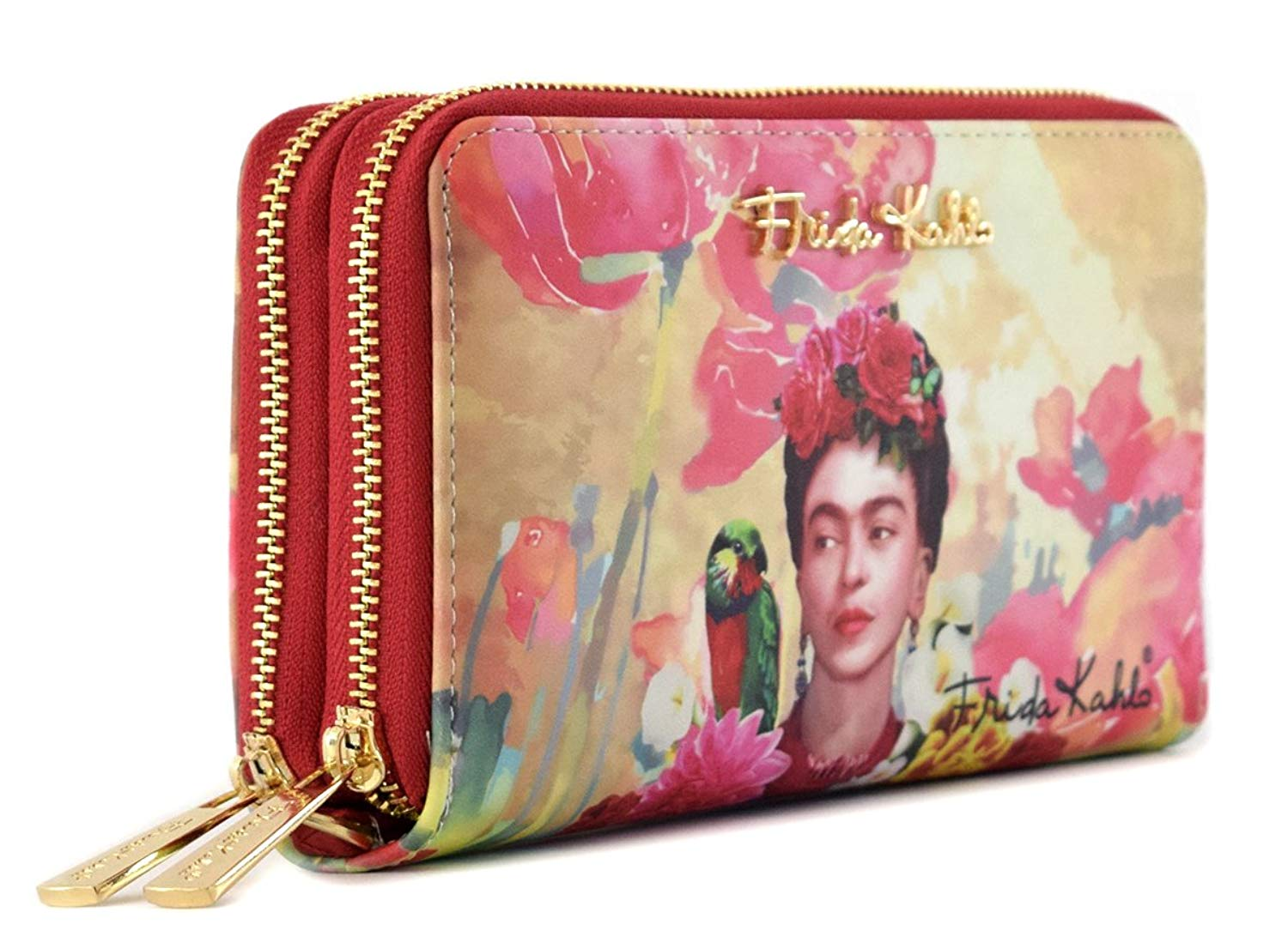 ca627aabe0b04 Get Quotations · Frida Kahlo Floral Series Double Zip Wallet   Wristlet