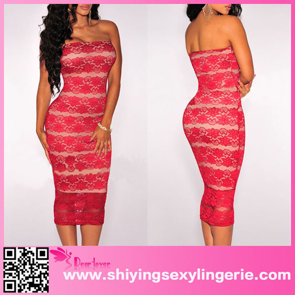 Sexy Wholesale Red Lace Nude Illusion Strapless Vintage Style Mother Of The Bride Dress
