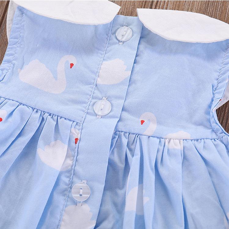 Baby Girl's Floral Print Ruffles 100% Cotton Girls Swan Printing Dress Sleeveless Dress
