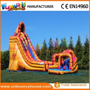 Yellow inflatable wet slide inflatable water slide with pool for adults