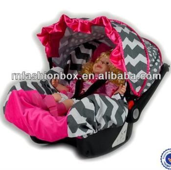 Novelty Hot Pink Fleece Grey Chevron Carseat Canopy Infant Car