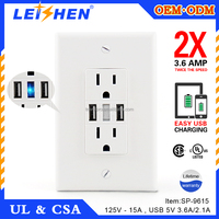 2016 summer promotional electric item American 125v 15a usb wall socket