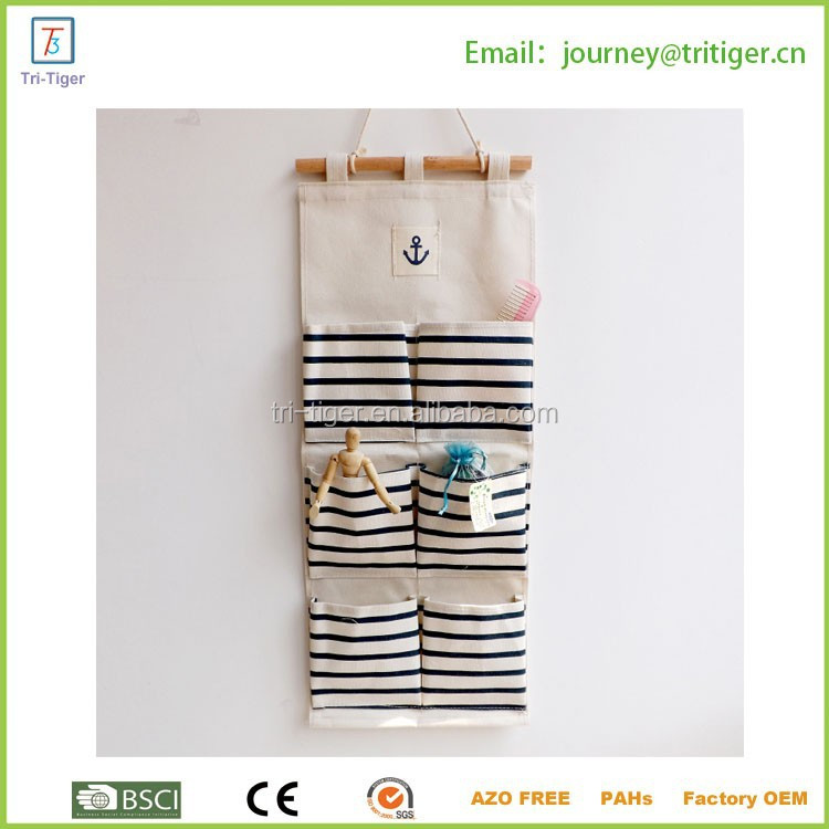 6 Pocket Home Organizer Linen/Cotton Fabric Wall Door Cloth Hanging Storage Bag Case