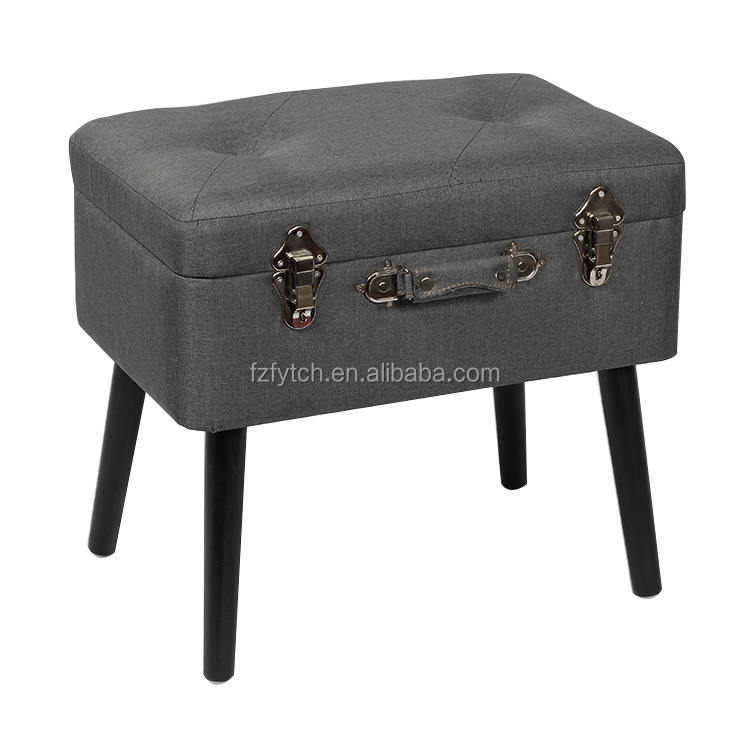 Admirable Fuzhou Fytch Wholesale Gray Fabric Kd Footstool Wood Legs Storage Stool Suitcase With Flipping Lid Child Safety Hinge Buy Stool Ottoman Product On Ibusinesslaw Wood Chair Design Ideas Ibusinesslaworg
