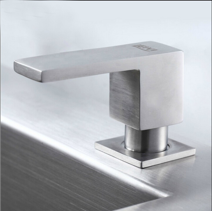 Square stainless steel soap dispenser fit for kitchen sink - Square stainless steel bathroom sink ...