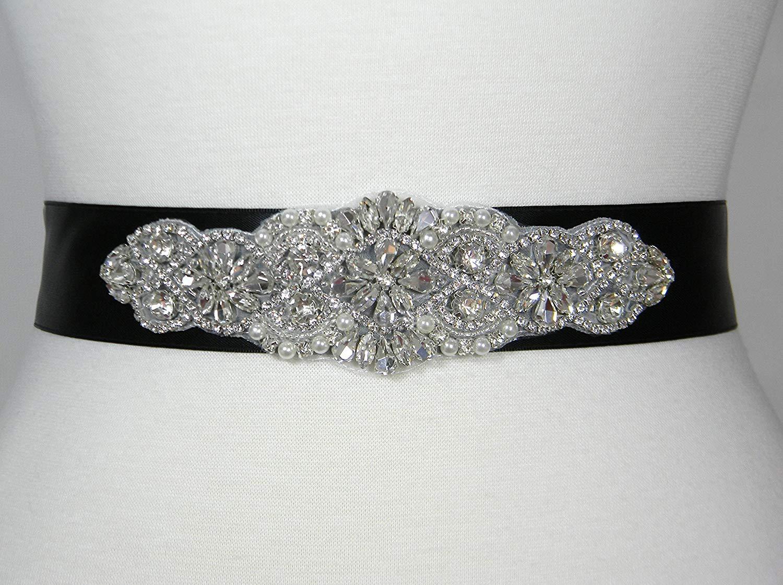 Wedding Belt, Black Satin Bridal Belt, Bridal Sash, Bridesmaid Belt, Flower Girl Dress Sash, Pearl and Crystal Rhinestone Wedding Sash Belt, ALEXA