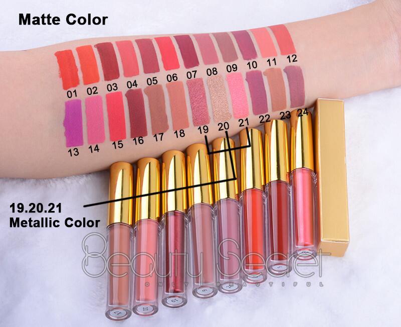 Nouveau design baguettes lipgloss étiquette autocollant Petite quantité éclairer brillant à lèvres avec miroir