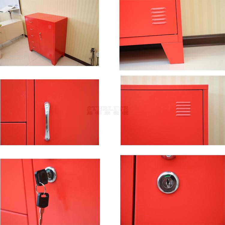 Enkele deur Rode metalen opbergkast lades display kast woonkamer ...